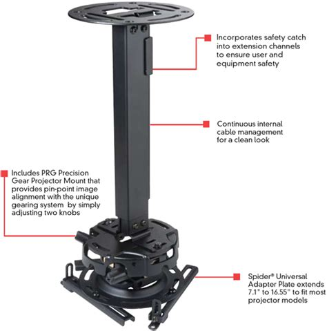 How To Install Projector Ceiling Mount by Peerless Prgexc 19 1 To 32 9 Inch Height Adjustable