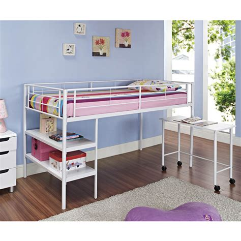 White Bunk Bed With Desk Bed White Loft Bed With Desk Shelves Detode