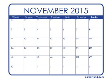 printable monthly planner november 2015 november 2015 calendar printable calendars