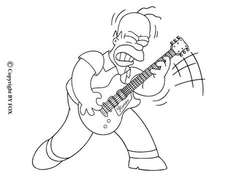 guitar player coloring page homer playing the guitar coloring pages hellokids com