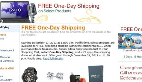 amazon indonesia free shipping amazon begins offering free 1 day shipping through dec 21