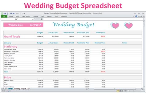 Excel Wedding Budget Planner Spreadsheet Basic Version Buyexceltemplates Com Shopify Excel Template
