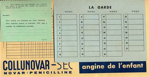 Calendrier De 1956 Calendrier De Salle De Garde 1955