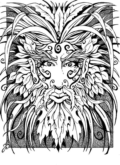 leaf man coloring pages icolor quot green man faces quot icolor quot green man faces
