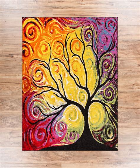 rug painting fairytale multi yellow orange nature modern abstract painting brush stroke area rug easy