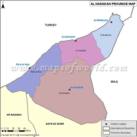 syria map of al hasakah map districts of al hasakah province syria