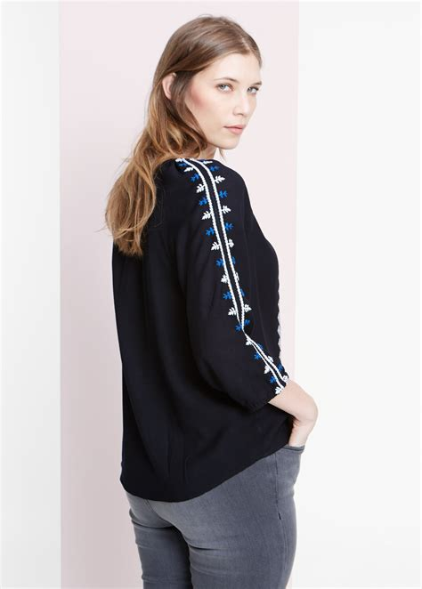Embroidery Sabrina Blouse 5 lyst violeta by mango embroidered blouse in black