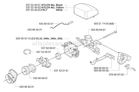 husqvarna 345 e parts list and diagram 2005 05
