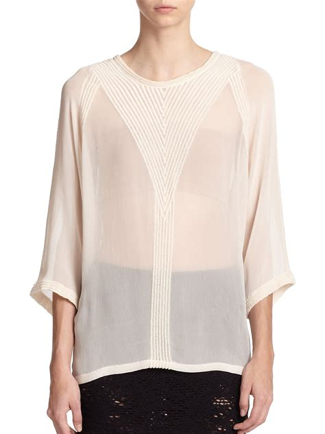 styles for chiffon iro and blouse iro embroidered chiffon blouse in white lyst