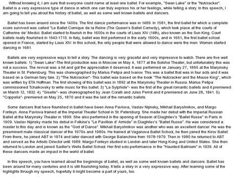 Informative Speech Essay by Informative Speech On Ballet At Essaypedia
