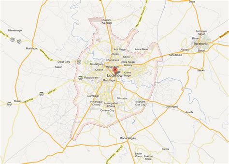 map of lucknow city lucknow map and lucknow satellite image