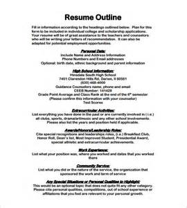 How To Write A Resume Outline by Resume Outline Template 13 Free Sle Exle Format Free Premium Templates