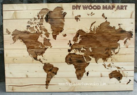 diy wooden world map art  happier homemaker