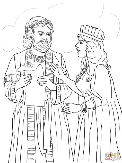 esther and mordecai with king s edict coloring online