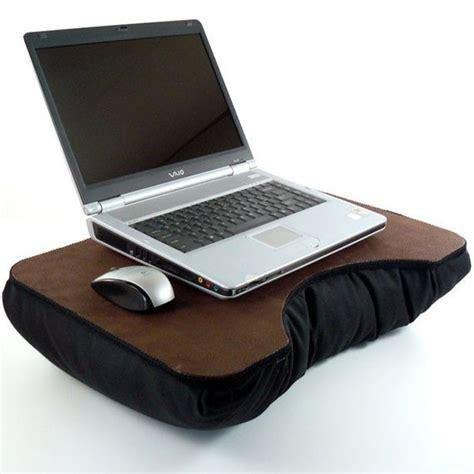 large laptop desk large brown faux leather laptop desk with black pillow