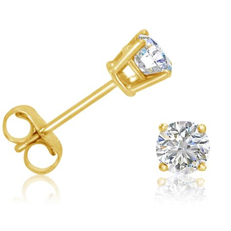 14k Yellow Gold Stud Earrings 1 2ct real stud earrings set in 14k