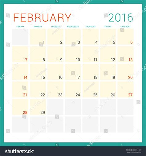feb week calendar 2016 vector flat design template february week
