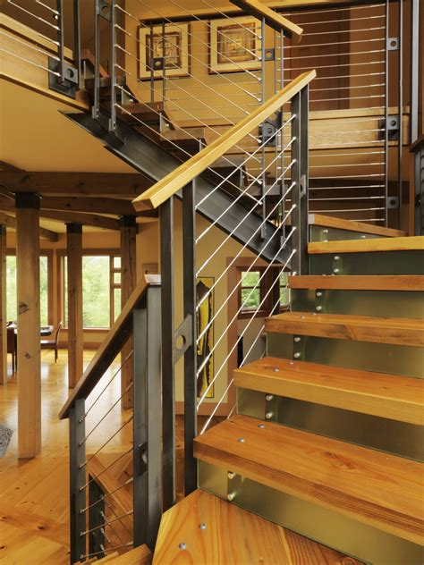 Contemporary Staircase Ideas Stair Railing Ideas Staircase Contemporary With Knotty Pine Metal Risers Metal Staircase Stained