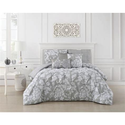 jacqueline  piece pinch pleat light gray twin comforter