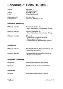 Lebenslauf Vorlage Kinder Lebenslauf Hausfrau Muster F 252 R Den Wiedereinstieg Karrierebibel De