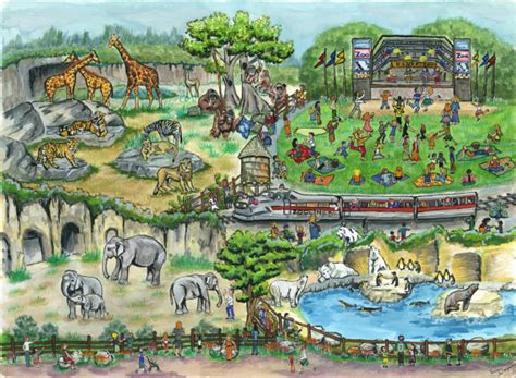 painting zoo day at the zoo print from original painting