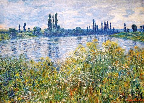 on the banks of the seine flowers on the banks of seine near vetheuil 1880 claude