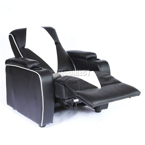 Black Leather Electric Recliner Sofa Foxhunter Leather Retro Theatre Cinema Chair Sofa Electric Recliner Black Ebay
