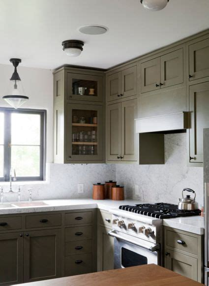 grey green cabinets marble in kitchen home decor