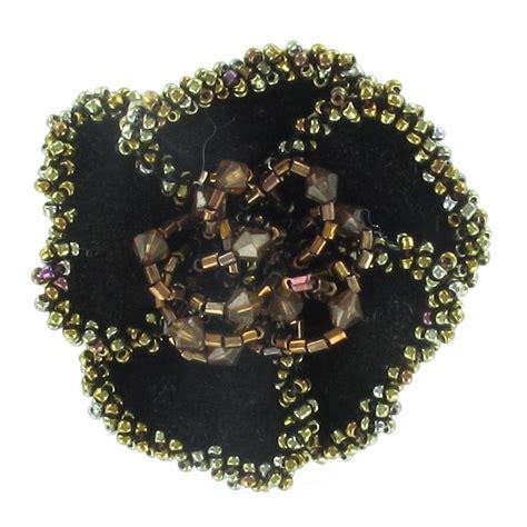 Choco Flower Brooch velvet flower brooch with chocolate ma mercerie