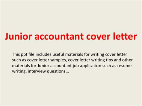 cover letter junior accountant junior accountant cover letter