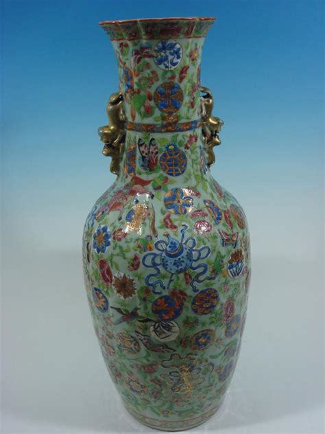 Antiques From China Auction by Antique Celadon Quot Baofuping Quot Vase With Treasures Dao
