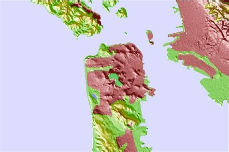 san francisco relief map peaks san francisco california mountain information