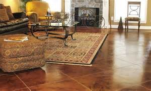 Interior cement can be stained just about any color and can be given