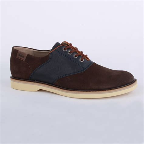 lacoste sherbrooke golf mens casual shoes in brown blue