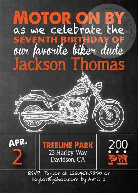 Harley Davidson Invitations by Harley Davidson Birthday Invitation Chalkboard