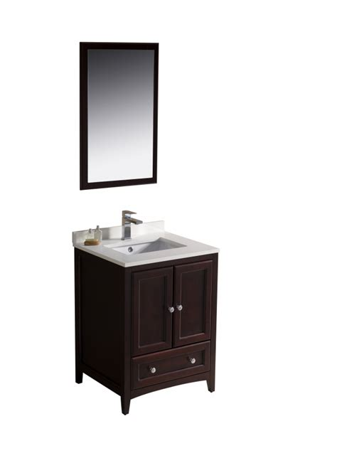 24 Inch Single Sink Bathroom Vanity In Mahogany Uvfvn2024mh24 24 In Bathroom Vanity With Sink