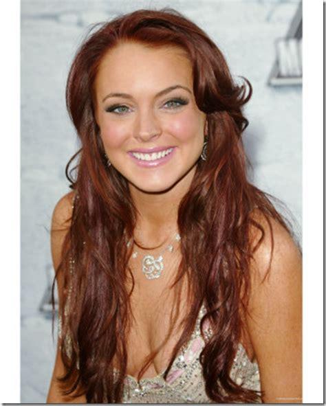 auburn haired actresses auburn beauty lindsay lohan dark brown hairs
