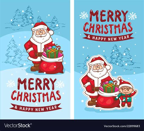 merry christmas happy  year   funny card vector image