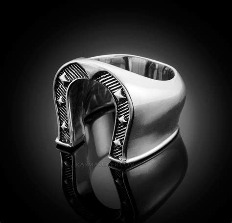 solid sterling silver mens horseshoe ring silver lucky