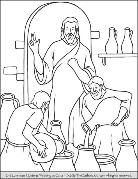 Wedding At Cana Coloring by The 2nd Luminous Mystery Coloring Page Wedding At Cana
