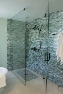 monochromatic gray mosaic subway tiles shower space wall