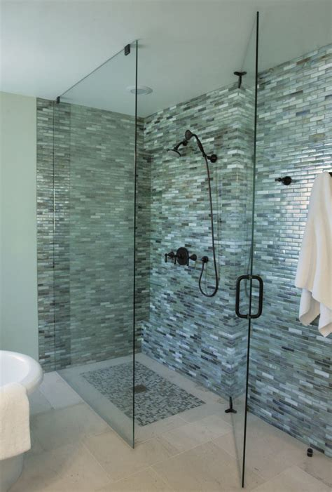 bathroom glass tile designs monochromatic gray mosaic subway tiles shower space wall
