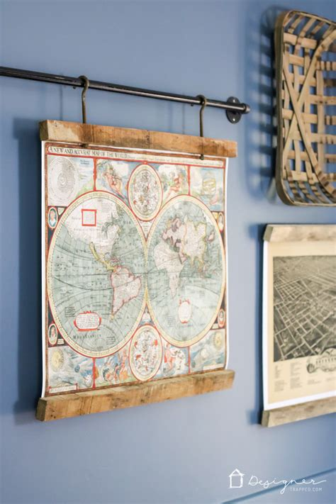 how to hang a map without a frame remodelaholic 85 creative diy pallet projects