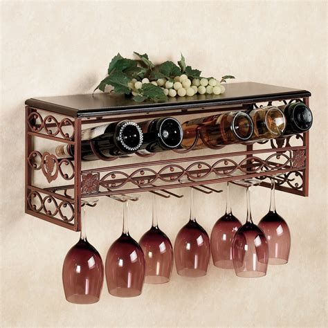 Wall Wine Rack Metal by Wine Rack With Glass Holder Decofurnish