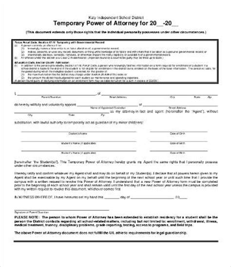 temporary power of attorney template power of attorney form free printable 9 free word pdf