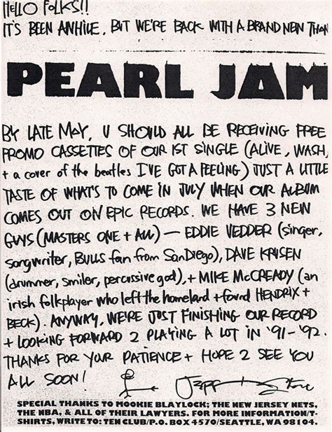 Porch Lyrics Pearl Jam on the porch a letter sat pearl jam s fan club newsletter twofeetthick