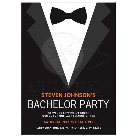 bachelor invitation cards templates bachelor invitation with bow tie bold and modern