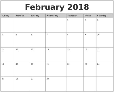 printable calendar february 2018 february 2018 monthly calendar printable