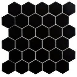 elitetile retro hexagon 2 quot x 2 quot porcelain mosaic tile in matte black reviews wayfair