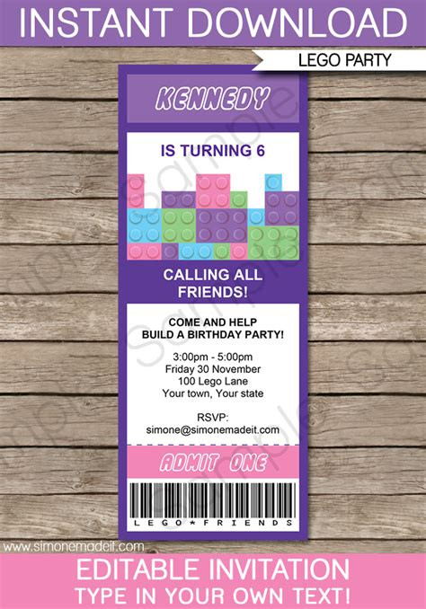 lego invitations template lego friends ticket invitations birthday template